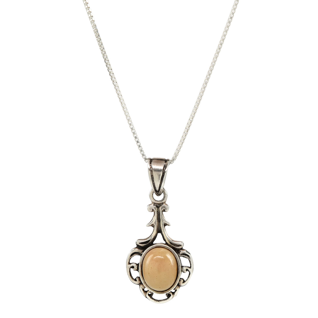 traditional sterling silver pendant with oval cabochon of